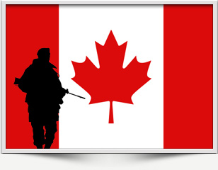 Canadian soldier and flag